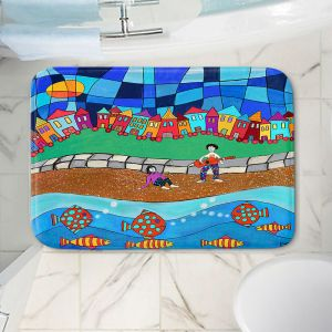 Decorative Bathroom Mats | Dora Ficher - Sitting By The Beach | City Town Ocean Coast