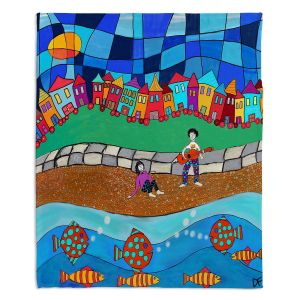 Decorative Fleece Throw Blankets | Dora Ficher - Sitting By The Beach | City Town Ocean Coast