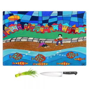Artistic Kitchen Bar Cutting Boards | Dora Ficher - Sitting By The Beach | City Town Ocean Coast