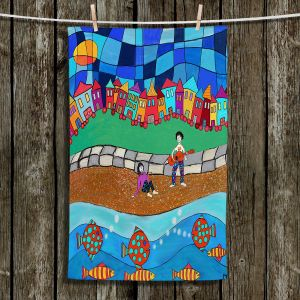 Unique Hanging Tea Towels | Dora Ficher - Sitting By The Beach | City Town Ocean Coast