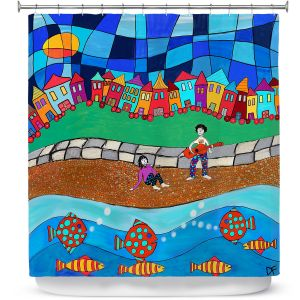 Premium Shower Curtains | Dora Ficher - Sitting By The Beach | City Town Ocean Coast