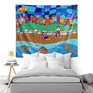 Artistic Wall Tapestry | Dora Ficher - Sitting By The Beach | City Town Ocean Coast