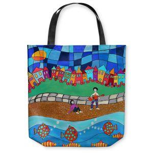 Unique Shoulder Bag Tote Bags | Dora Ficher - Sitting By The Beach | City Town Ocean Coast