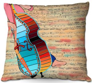 Throw Pillows Decorative Artistic | Dora Ficher - Strings | cello instrument music