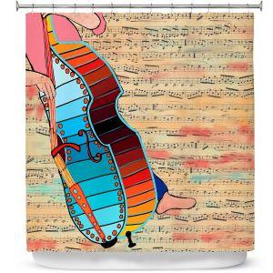 Premium Shower Curtains | Dora Ficher - Strings | cello instrument music