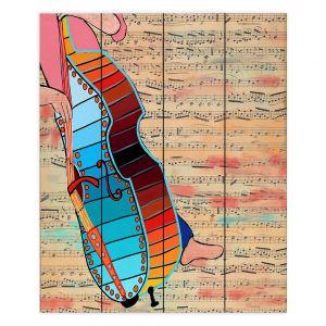 Decorative Wood Plank Wall Art | Dora Ficher - Strings | cello instrument music