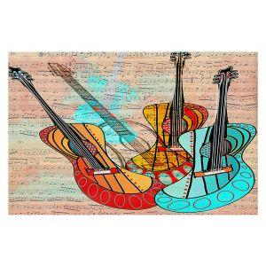 Decorative Floor Covering Mats | Dora Ficher - Strumming Away | music instrument abstract simple