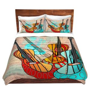 Artistic Duvet Covers and Shams Bedding | Dora Ficher - Strumming Away | music instrument abstract simple