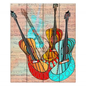 Decorative Wood Plank Wall Art | Dora Ficher - Strumming Away | music instrument abstract simple