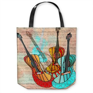 Unique Shoulder Bag Tote Bags | Dora Ficher - Strumming Away | music instrument abstract simple