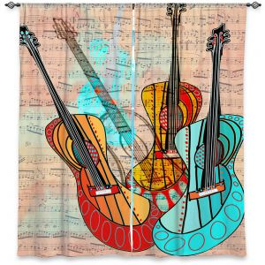 Decorative Window Treatments | Dora Ficher - Strumming Away | music instrument abstract simple