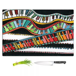 Artistic Kitchen Bar Cutting Boards | Dora Ficher - The Keys Keep Dancing | keyboard piano music instrument
