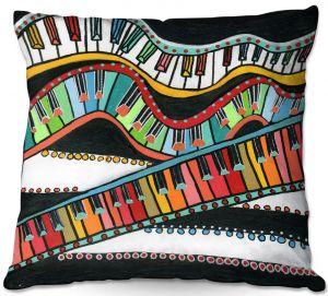 Decorative Outdoor Patio Pillow Cushion | Dora Ficher - The Keys Keep Dancing | keyboard piano music instrument