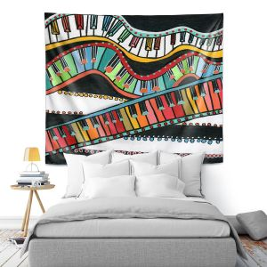 Artistic Wall Tapestry | Dora Ficher - The Keys Keep Dancing | keyboard piano music instrument