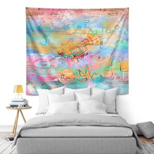 Artistic Wall Tapestry | Dora Ficher - The Sounds of Trumpets | music instrument abstract simple
