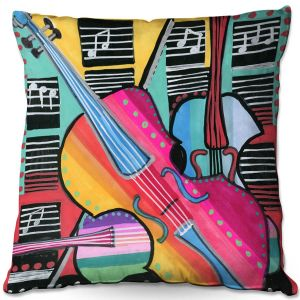 Decorative Outdoor Patio Pillow Cushion | Dora Ficher - The Three Violins 2 | string instrument music