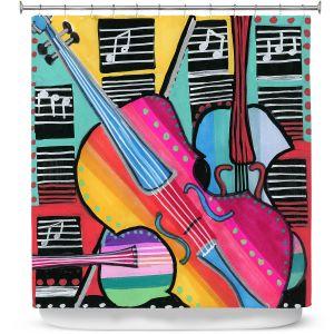 Premium Shower Curtains | Dora Ficher - The Three Violins 2 | string instrument music
