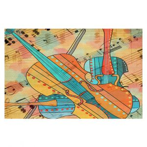 Decorative Floor Covering Mats | Dora Ficher - The Three Violins | music instrument abstract simple