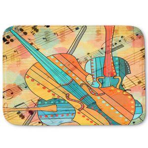 Decorative Bathroom Mats | Dora Ficher - The Three Violins | music instrument abstract simple