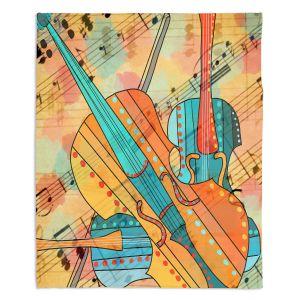 Decorative Fleece Throw Blankets | Dora Ficher - The Three Violins 2 | string instrument music
