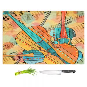 Artistic Kitchen Bar Cutting Boards | Dora Ficher - The Three Violins | music instrument abstract simple