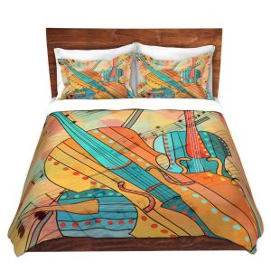Artistic Duvet Covers and Shams Bedding | Dora Ficher - The Three Violins | music instrument abstract simple