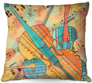 Throw Pillows Decorative Artistic | Dora Ficher - The Three Violins | music instrument abstract simple