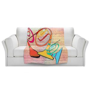 Artistic Sherpa Pile Blankets   Dora Ficher - Three Horns   music instrument abstract simple