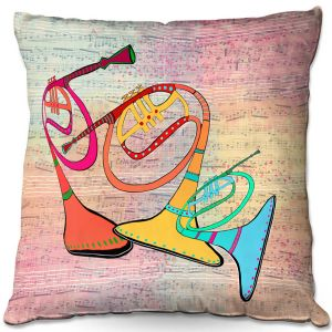 Decorative Outdoor Patio Pillow Cushion | Dora Ficher - Three Horns | music instrument abstract simple