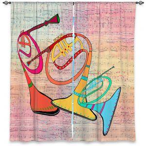 Decorative Window Treatments | Dora Ficher - Three Horns | music instrument abstract simple