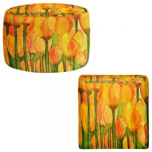 Round and Square Ottoman Foot Stools | Dora Ficher - Tulips