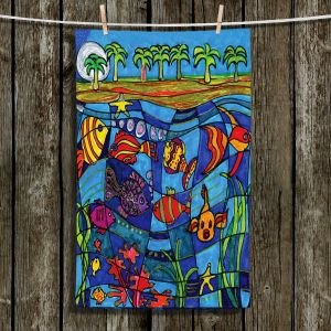 Unique Hanging Tea Towels | Dora Ficher - Under the Sea | Fish Under Water Scene