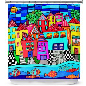 Premium Shower Curtains | Dora Ficher - Window Boxes | City Neighborhood Fish