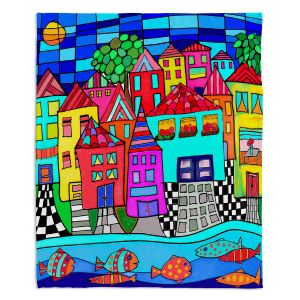 Decorative Fleece Throw Blankets | Dora Ficher - Window Boxes | City Neighborhood Fish