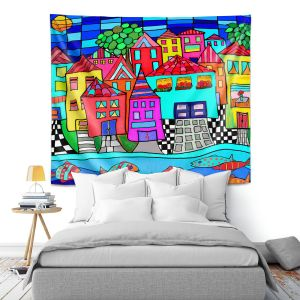 Artistic Wall Tapestry | Dora Ficher - Window Boxes | City Neighborhood Fish