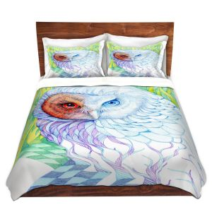 Artistic Duvet Covers and Shams Bedding | Gerry Segismundo - Chess Owl | bird nature abstract surreal