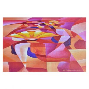 Decorative Floor Covering Mats   Gerry Segismundo - Dancer with Fan Cubism 2   abstract cube shapes geometric