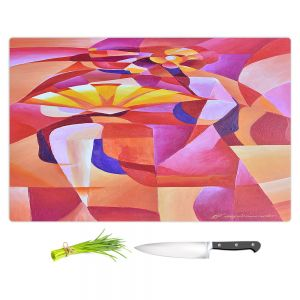 Artistic Kitchen Bar Cutting Boards | Gerry Segismundo - Dancer with Fan Cubism 2 | abstract cube shapes geometric