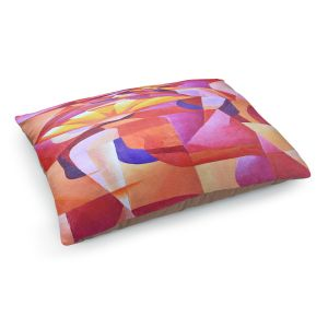Decorative Dog Pet Beds | Gerry Segismundo - Dancer with Fan Cubism 2 | abstract cube shapes geometric