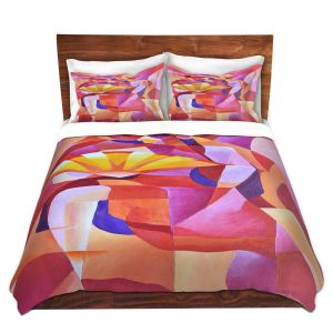 Artistic Duvet Covers and Shams Bedding | Gerry Segismundo - Dancer with Fan Cubism 2 | abstract cube shapes geometric