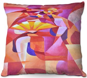 Throw Pillows Decorative Artistic | Gerry Segismundo - Dancer with Fan Cubism 2 | abstract cube shapes geometric
