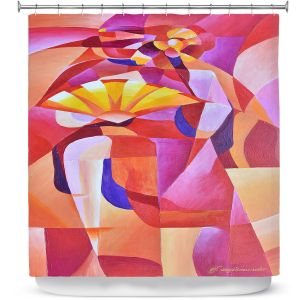 Premium Shower Curtains | Gerry Segismundo - Dancer with Fan Cubism 2 | abstract cube shapes geometric