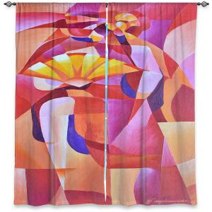 Decorative Window Treatments | Gerry Segismundo - Dancer with Fan Cubism 2 | abstract cube shapes geometric