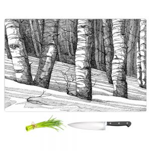 Artistic Kitchen Bar Cutting Boards | Gerry Segismundo - Dont Snowboard Here | landscape snow trees forest