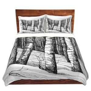 Artistic Duvet Covers and Shams Bedding | Gerry Segismundo - Dont Snowboard Here | landscape snow trees forest
