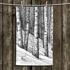 Unique Hanging Tea Towels | Gerry Segismundo - Dont Snowboard Here | landscape snow trees forest