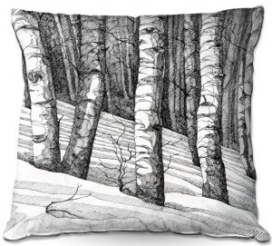 Decorative Outdoor Patio Pillow Cushion | Gerry Segismundo - Dont Snowboard Here | landscape snow trees forest