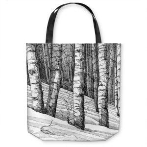 Unique Shoulder Bag Tote Bags | Gerry Segismundo - Dont Snowboard Here | landscape snow trees forest