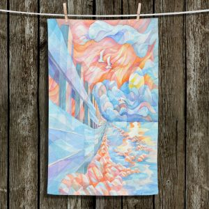 Unique Hanging Tea Towels | Gerry Segismundo - Egrets Flight | landscape bird nature abstract surreal