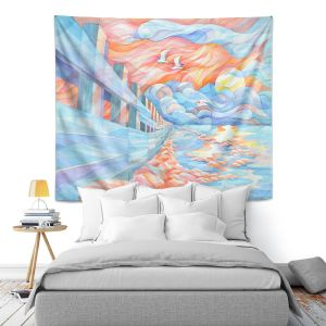 Artistic Wall Tapestry | Gerry Segismundo - Egrets Flight | landscape bird nature abstract surreal
